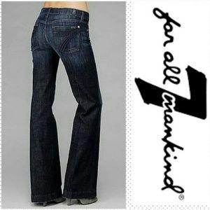 7 FAMK | DOJO NWT Flare leg Dark on Dark 7 pockets